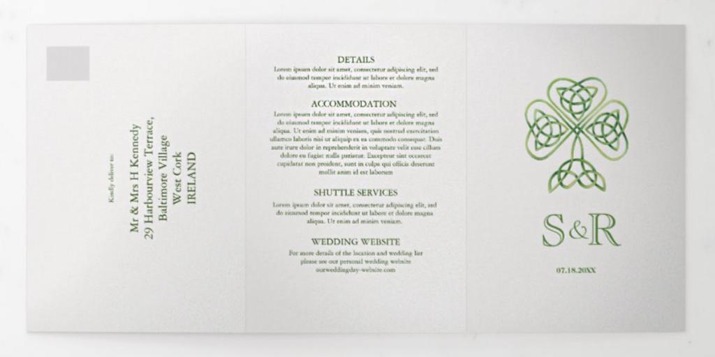 Celtic cross Irish trifold wedding invitation template on Zazzle