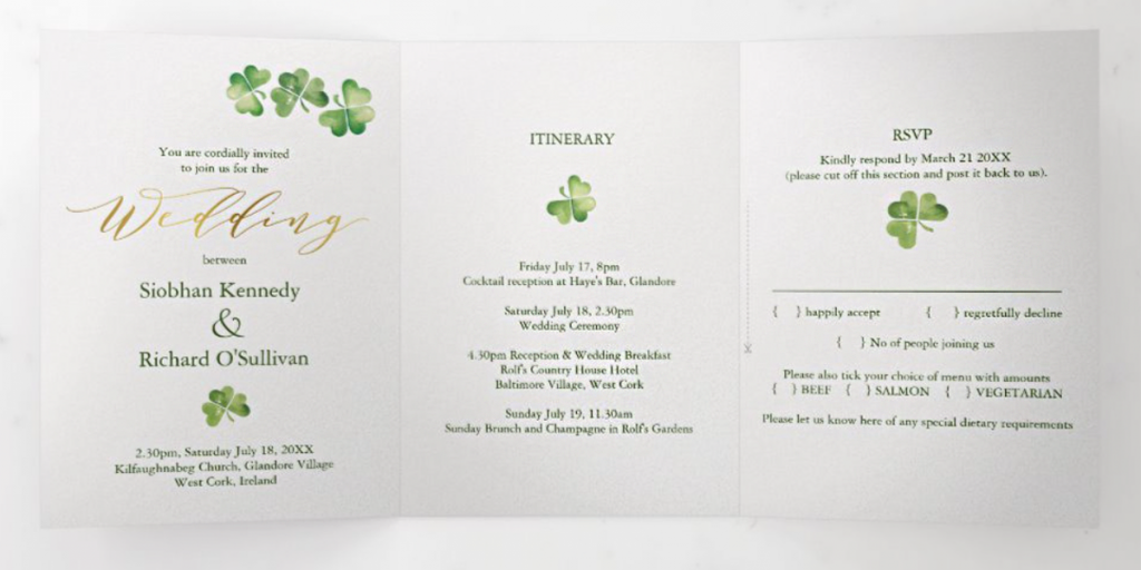 Irish wedding invitation on Zazzle