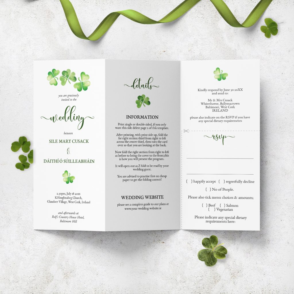 Tri-fold eco wedding stationery – The Stationery Concierge