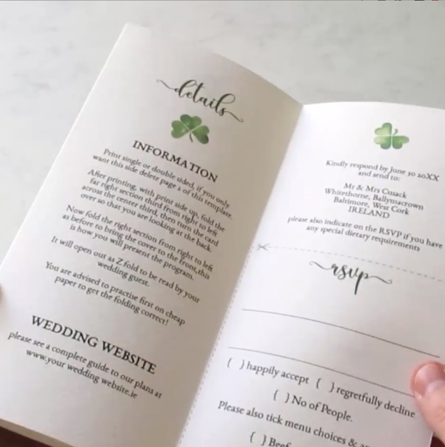 Budget friendly wedding invitation on one sheet