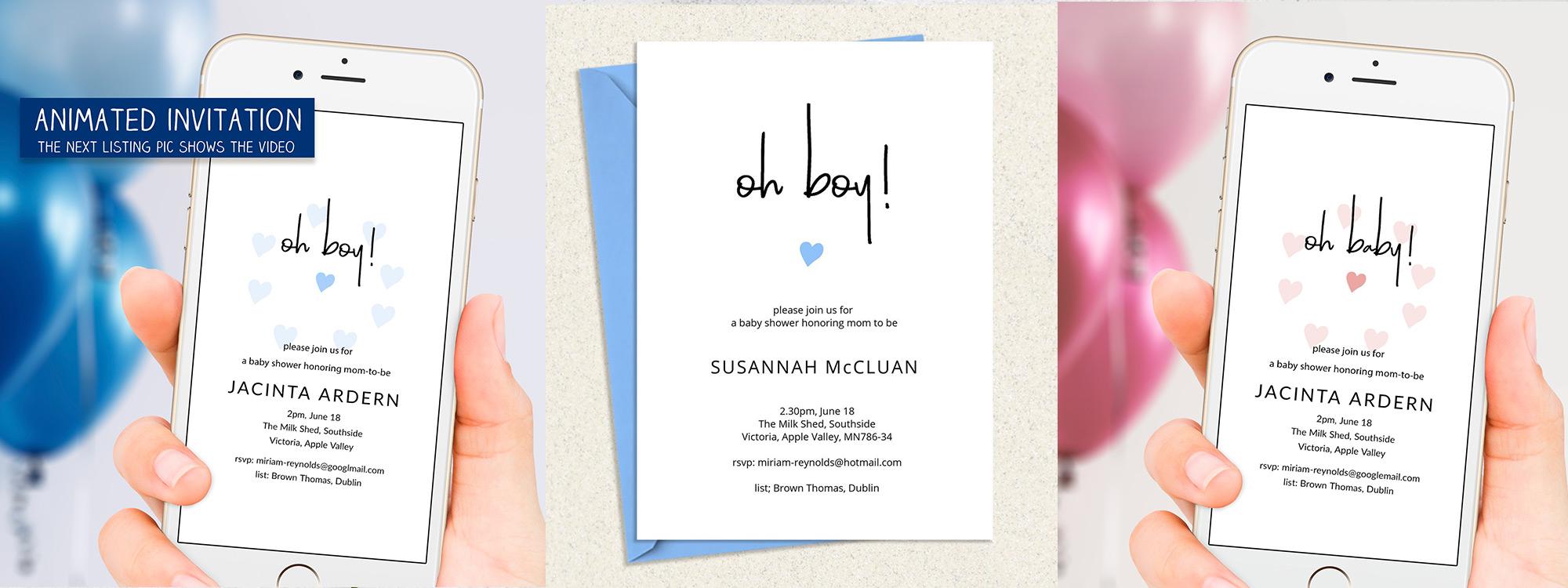 animated baby shower invitation