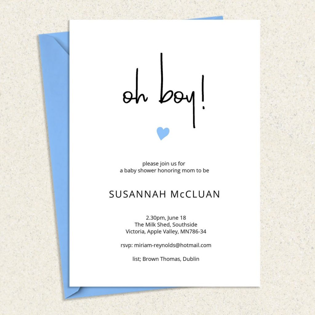 chic oh boy baby shower in citation card