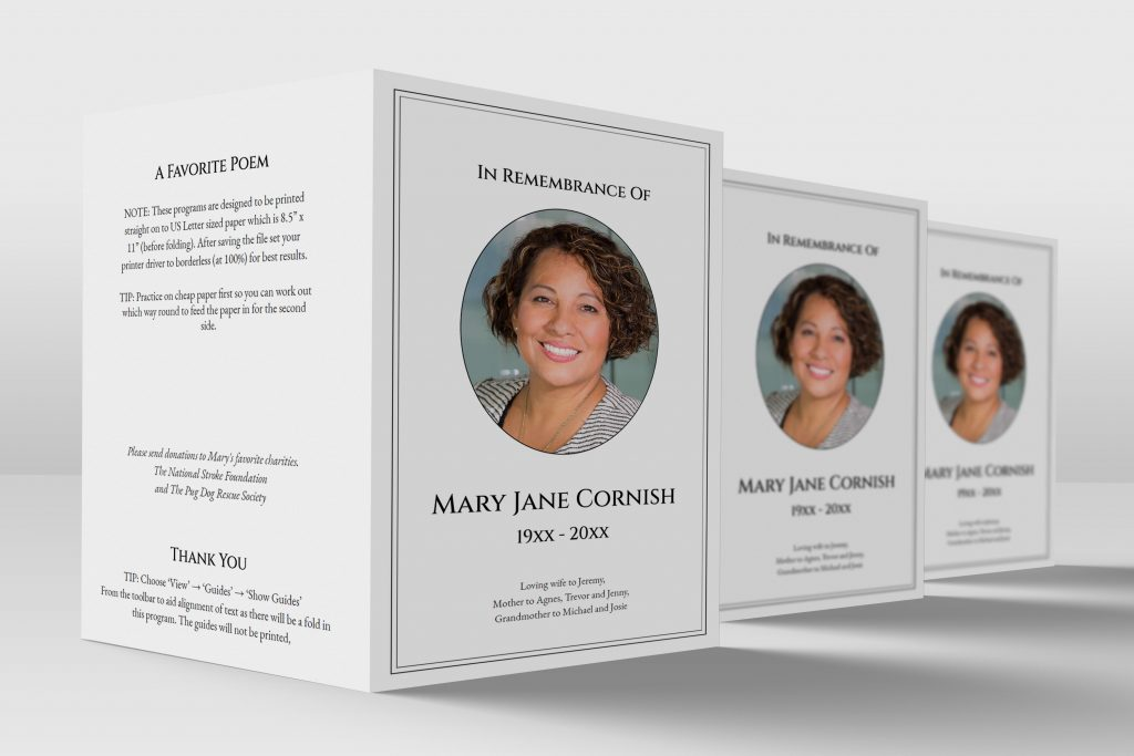 free folded funeral program template