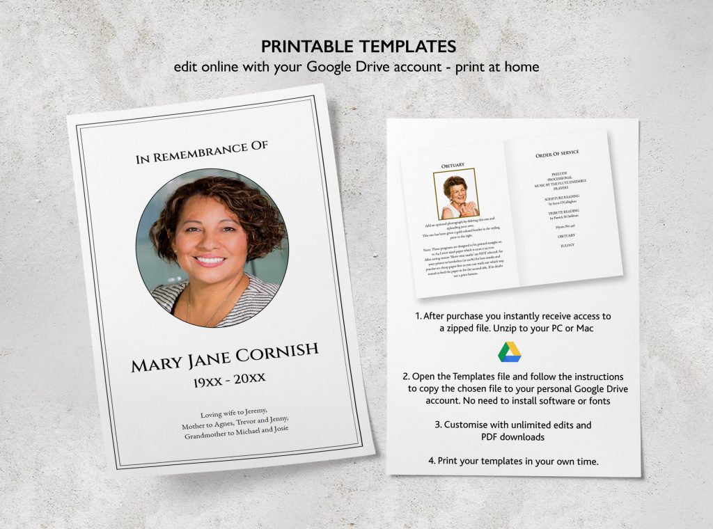 free funeral template from The Stationery Concierge