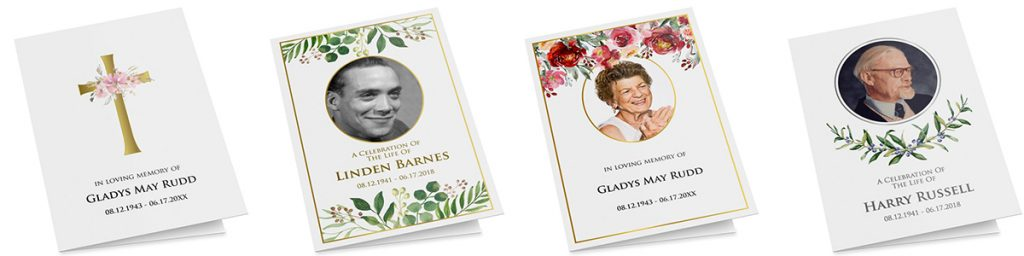 Editable funeral programs printed by Zazzle