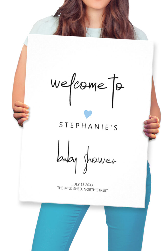 editable baby boy shower welcome poster