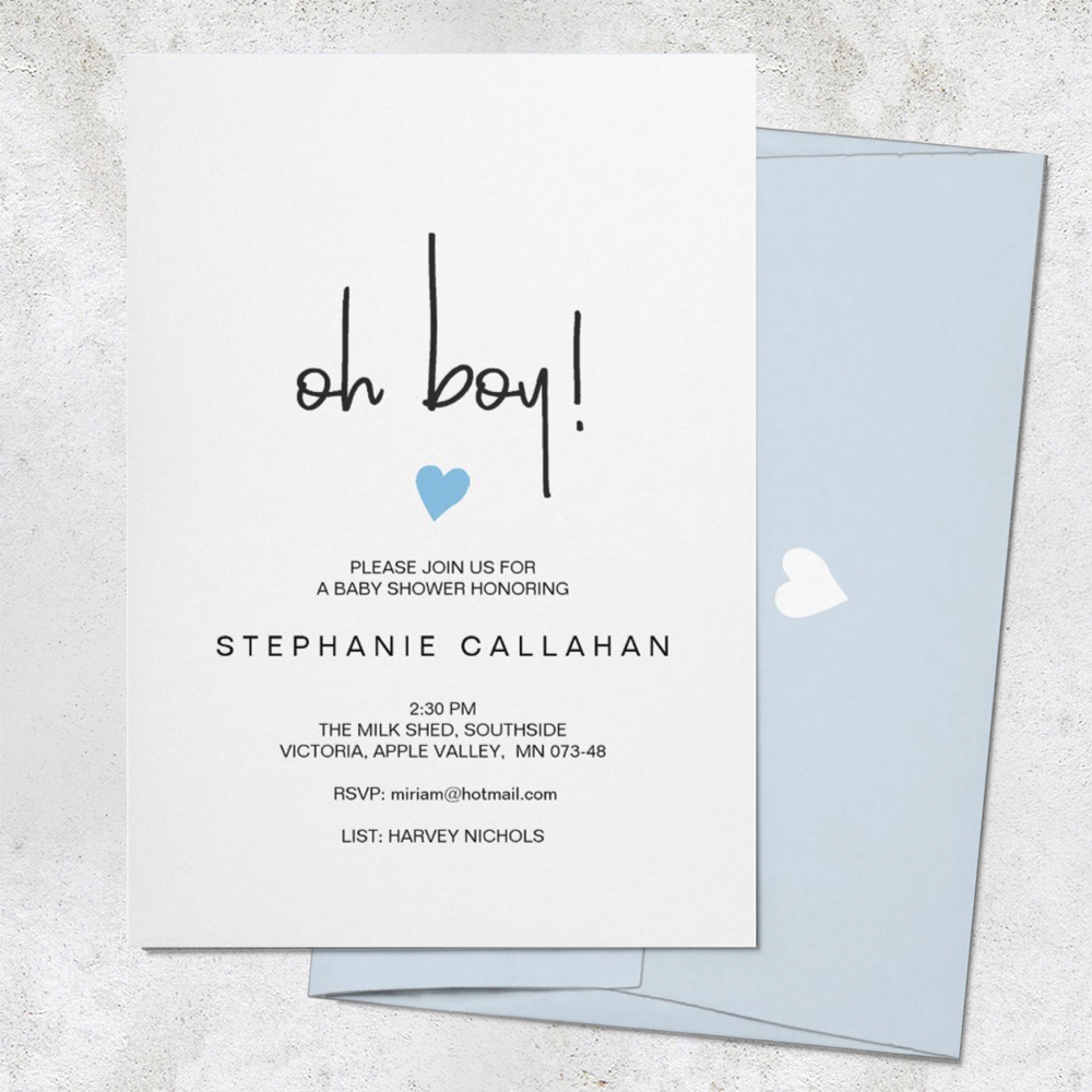 minimalist oh baby boy shower invitation by The Stationery Concierge available to edit on Zazzly