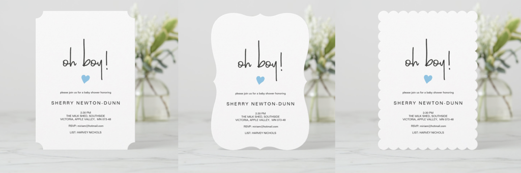 minimalist chic baby boy shower invitations on Zazzle