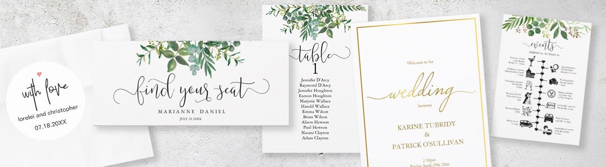 modern wedding stationery editable