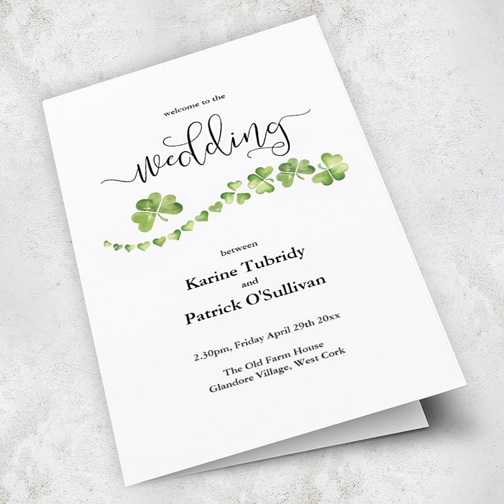 Irish shamrock wedding invitation